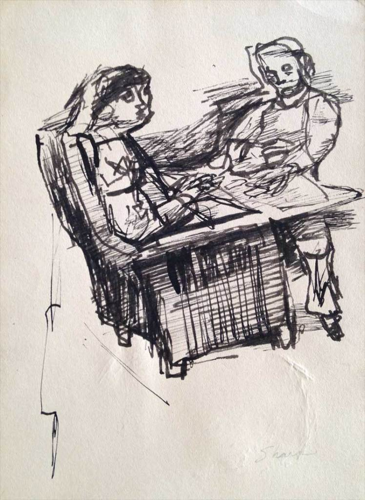 William Bertrum Sharp - pen and ink card players