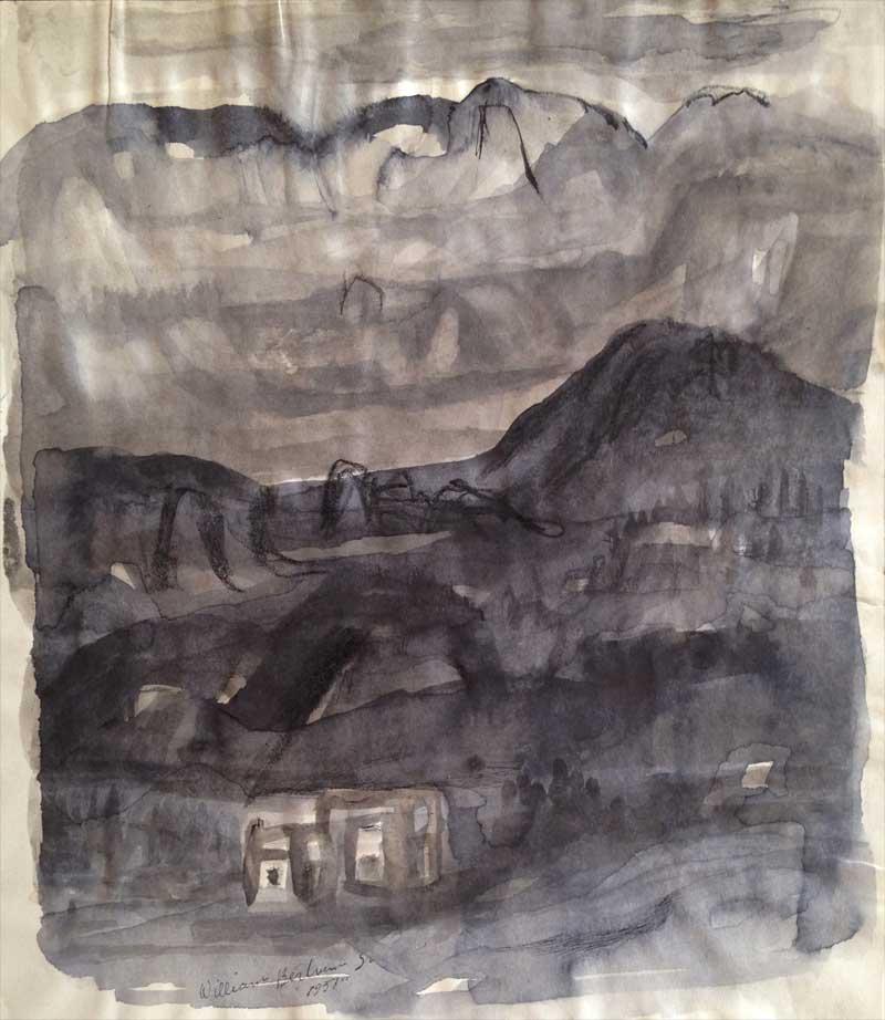 William Bertrum Sharp - pen and ink landscape